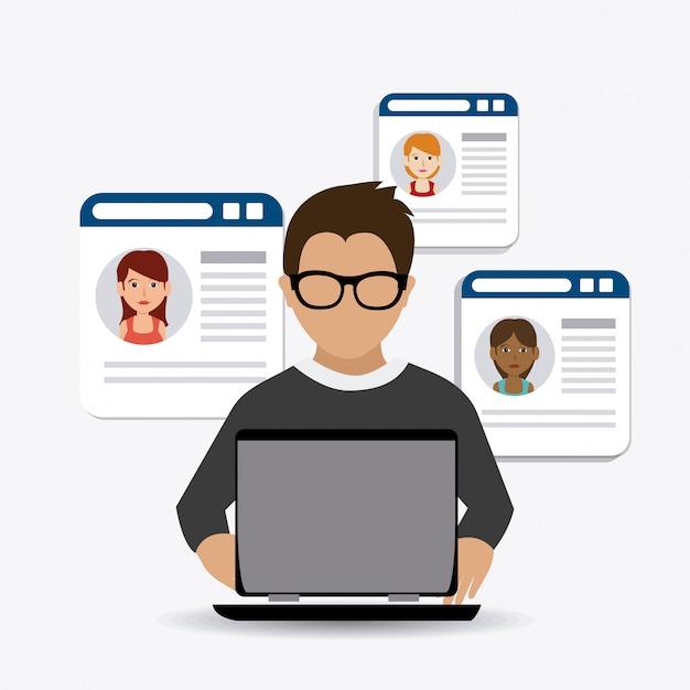 Sígueme diseño de temas sociales y empresariales vector gratuito