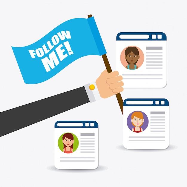 Sígueme en diseño de temática social y empresarial. vector gratuito