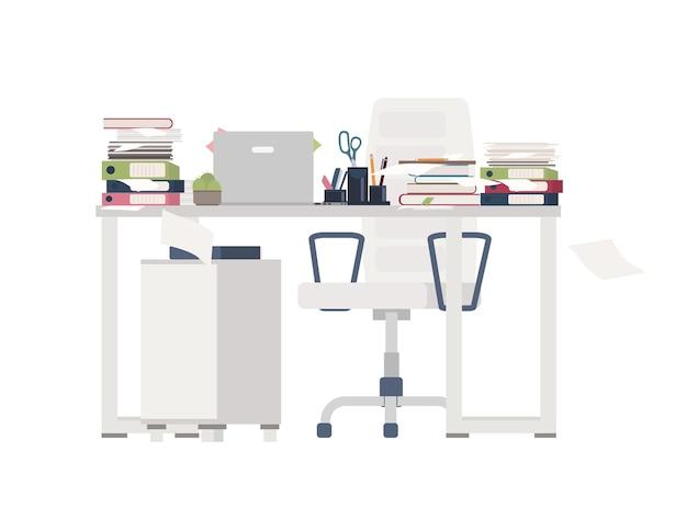 Silla y escritorio de oficina completamente cubiertos con documentos, carpetas, papelería. mesa llena de papeles. lugar de trabajo y abrumadora cantidad de trabajo. ilustración de vector de dibujos animados planos coloridos. Vector Premium