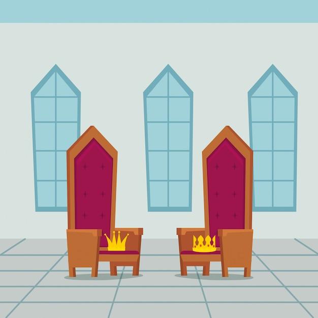 Silla de reyes en el castillo interior vector gratuito