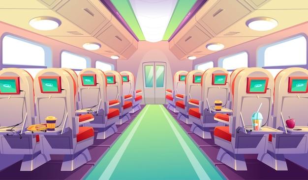 Sillas de autobús, tren o avión con mesas plegables. vector gratuito