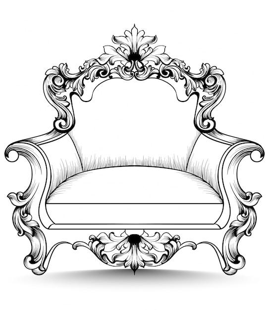 Silln barroco con lujosos adornos Descargar Vectores Premium