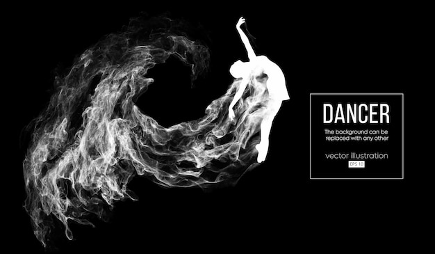Silueta abstracta de una bailarina sobre fondo oscuro Vector Premium