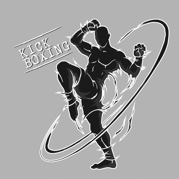 Silueta de arte marcial extremo kick boxing Vector Premium