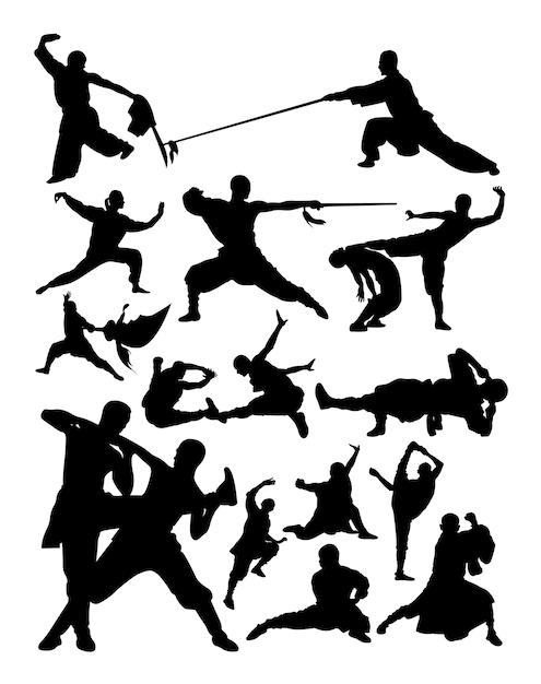 Silueta de artes marciales shaolin Vector Premium