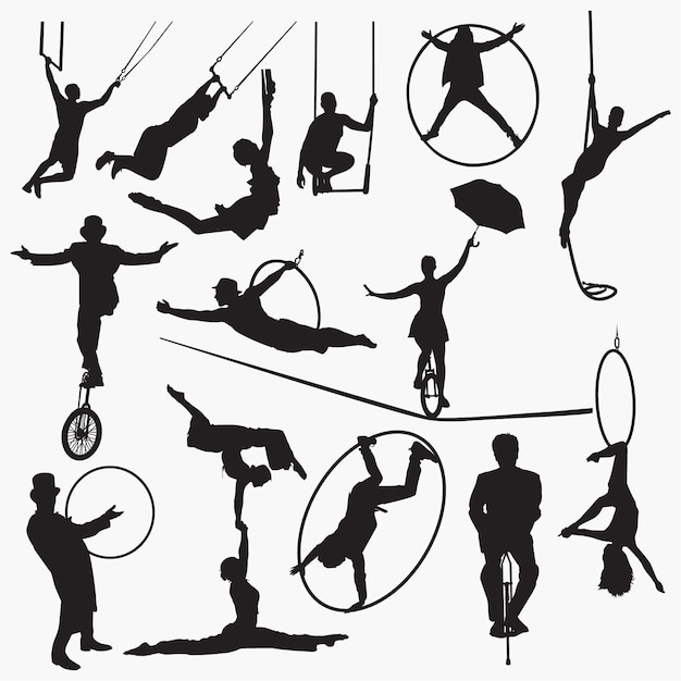 Silueta de artista de circo Vector Premium