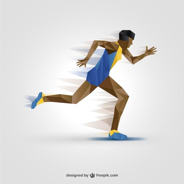 Silueta de atleta a color vector gratuito