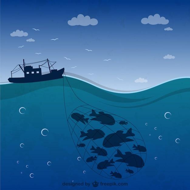 Silueta de barco de pesca vector gratuito