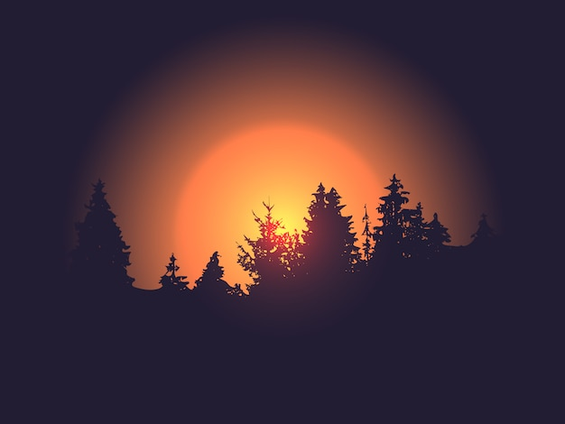 Silueta del bosque contra el sol Vector Premium