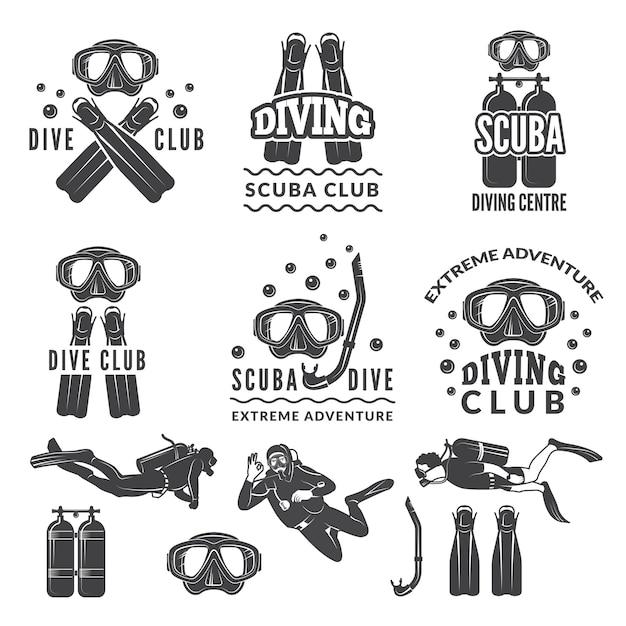Silueta de buceo y buzos. etiquetas para club deportivo de mar. Vector Premium