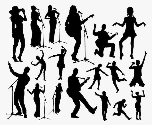 Silueta de cantante y animador. buen uso para símbolo, logo, icono web, mascota, etc. Vector Premium