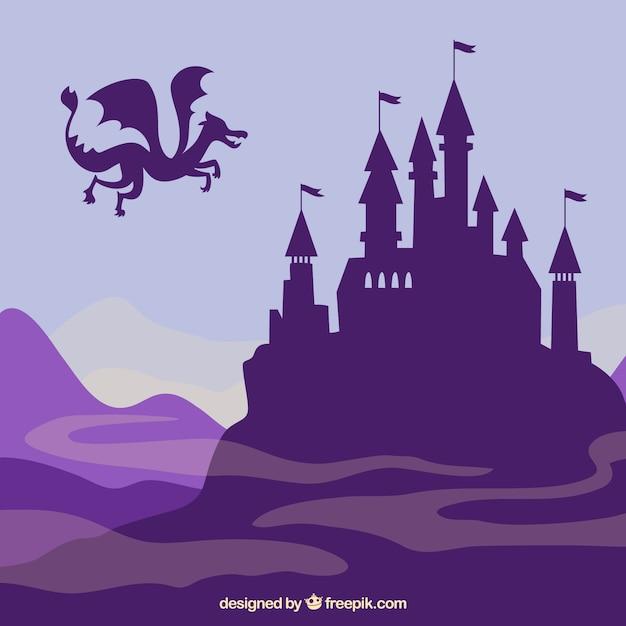 Silueta de castillo con dragón volando vector gratuito