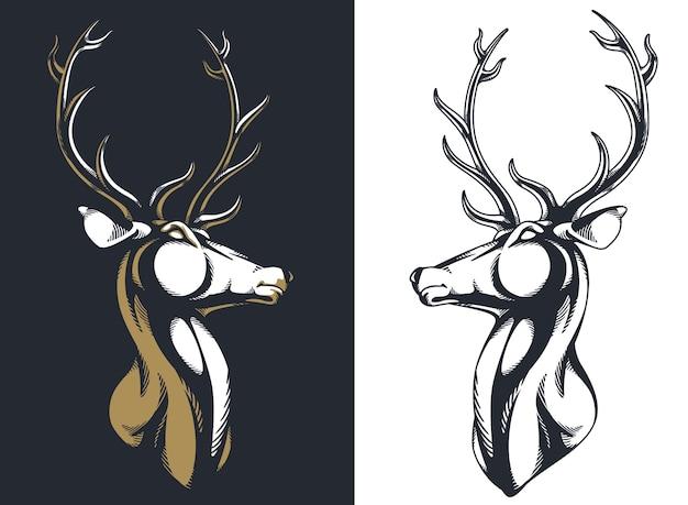 Silueta ciervo buck alce cabeza de venado cuernos majestuoso retrato Vector Premium