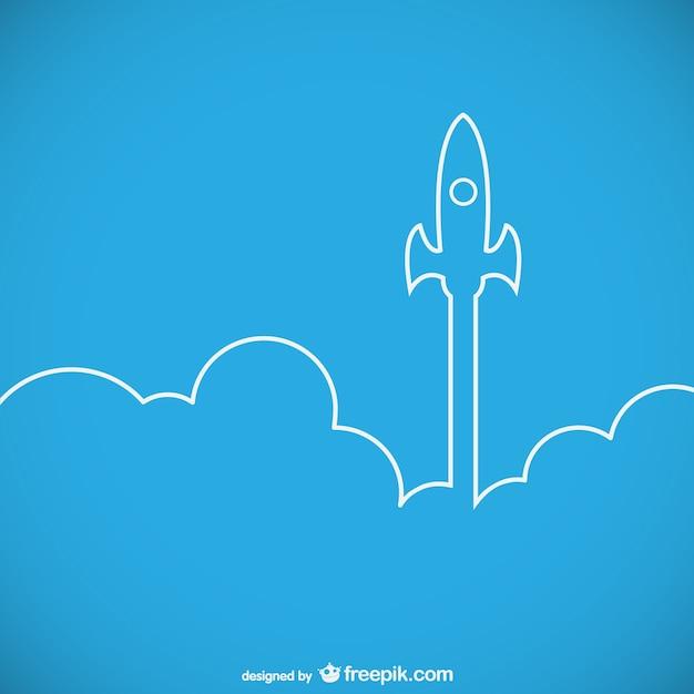 Silueta de cohete despegando Vector Premium