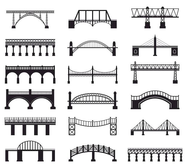 Silueta de construcción de puente. edificio de la arquitectura del puente del río, iconos del ejemplo de la silueta de la calzada del transporte del puente fijados. edificio de arquitectura, ferroviario y peatonal Vector Premium