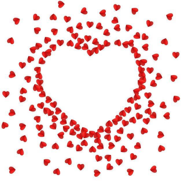 Silueta de corazón forrada con corazones de papel | Vector Premium