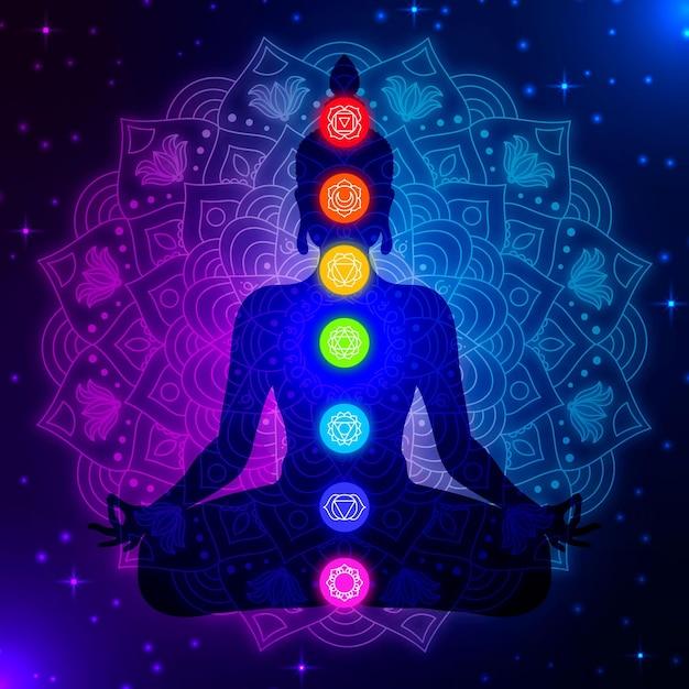 Silueta del cuerpo con chakras coloridos vector gratuito