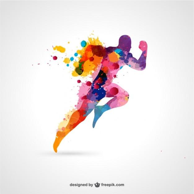 Silueta de atleta con gotas de pintura Vector Gratis