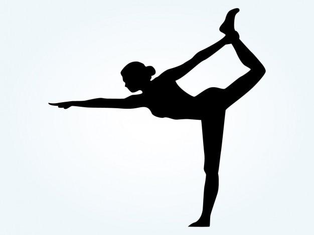 Silueta de mujer en posición de yoga Vector Gratis