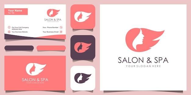 Silueta estilizada de estilo de pelo de mujer, plantilla de logotipo de salón de belleza Vector Premium