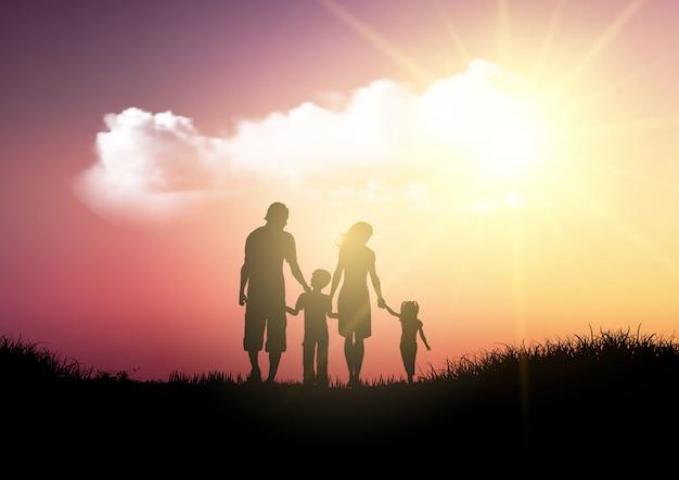 Silueta de una familia caminando contra un cielo al atardecer vector gratuito