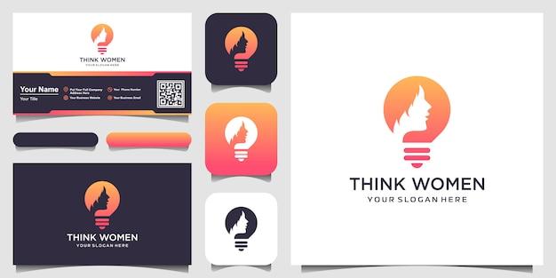 Silueta femenina en el logotipo de la lámpara de bulbo y tarjeta de visita Vector Premium