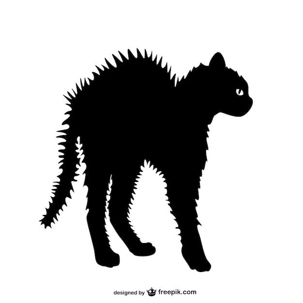 Silueta gato enfadado vector gratuito