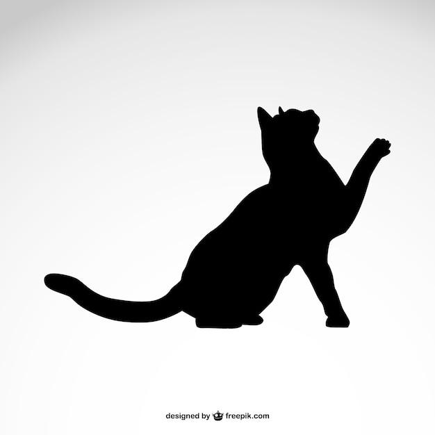 Silueta del gato negro vector libre Vector Premium