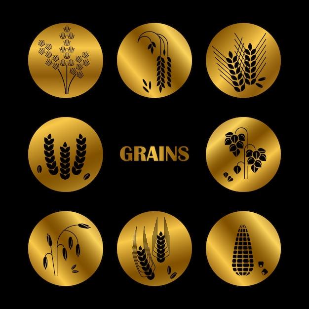 Silueta de granos negros. colección de cereales Vector Premium