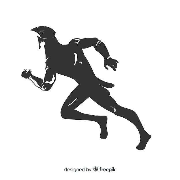 Silueta de guerrero espartano corriendo vector gratuito