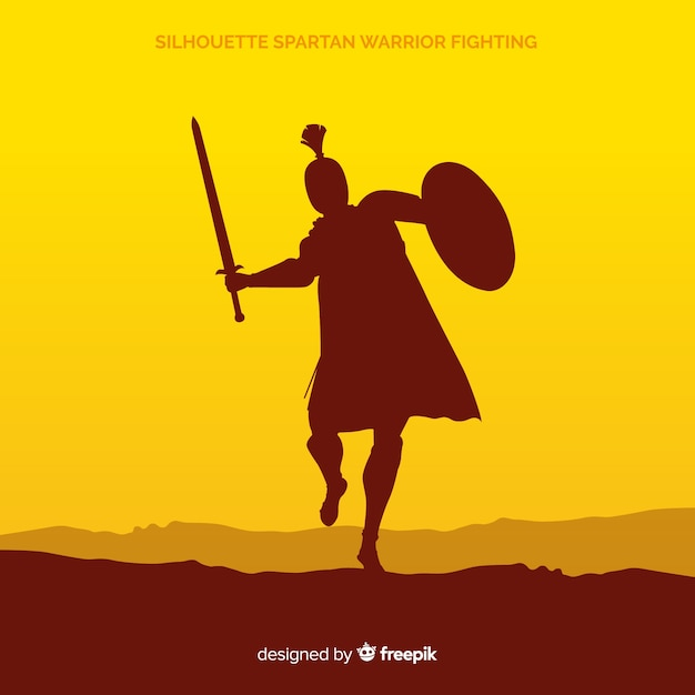 Silueta de un guerrero espartano entrenando vector gratuito