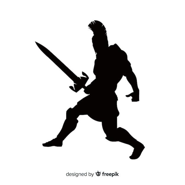 Silueta de guerrero espartano con espada vector gratuito