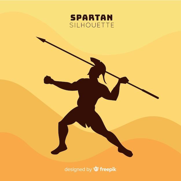 Silueta de guerrero espartano con lanza vector gratuito