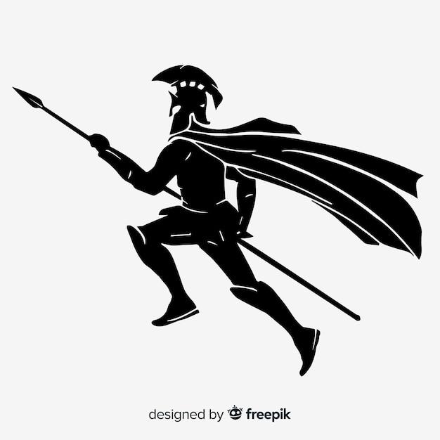 Silueta de un guerrero espartano vector gratuito