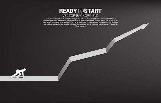 Silueta de hombre de negocios listo para correr desde la línea de inicio en plantilla de gráfico creciente Vector Premium