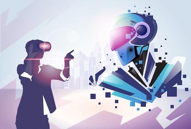 Silueta de hombre de negocios realidad virtual gafas digitales ver robot moderno Vector Premium