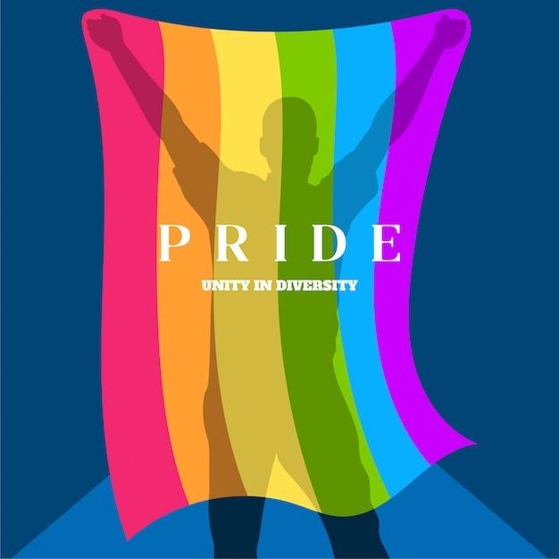 Silueta de un hombre que sostiene una bandera del orgullo gay Vector Premium