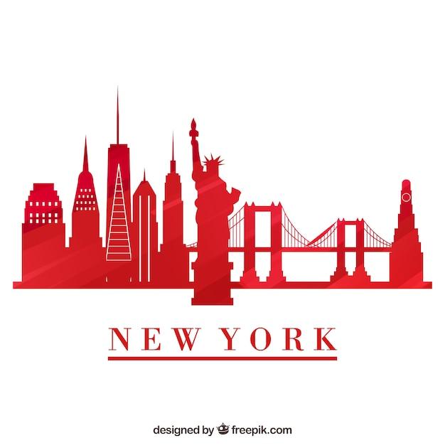 Silueta de horizonte de ciudad de nueva york   Descargar Vectores gratis