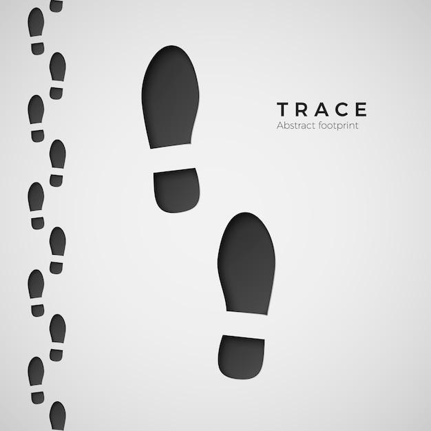 Silueta de huella. sendero pisado por botas. rastro del zapato. ilustración sobre fondo blanco Vector Premium