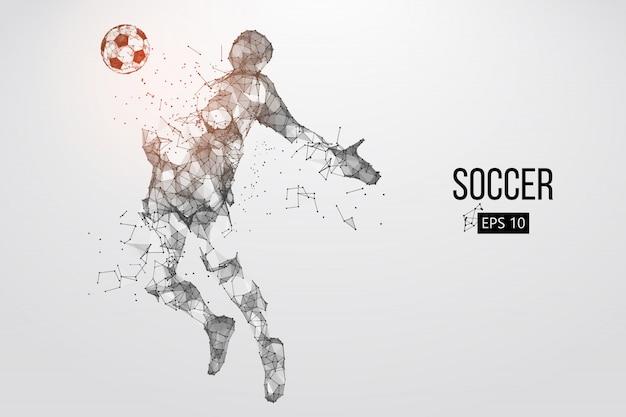 Silueta de un jugador de fútbol de partículas. Vector Premium
