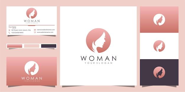Silueta del logotipo de la cara de mujer y diseño de tarjeta de visita Vector Premium