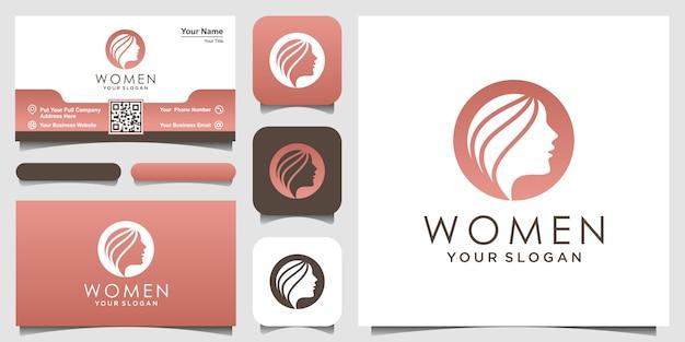 Silueta mujer logo y tarjeta de visita, cabeza, logotipo de cara aislado. uso para salón de belleza, spa, diseño de cosméticos, etc. Vector Premium