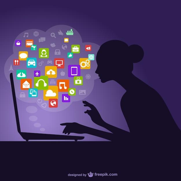 Silueta de la mujer y redes sociales vector gratuito