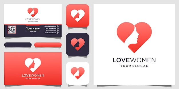 Silueta mujer y símbolo corazón logotipo y tarjeta de visita, cabeza, logotipo de cara aislado. uso para salón de belleza, spa, diseño de cosméticos, etc. Vector Premium