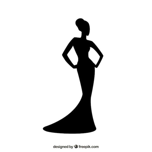 Vectores De Silueta EleganteDescargar Vestido Premium Con Mujer TPklwOXuZi
