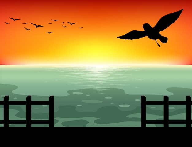 Silueta puesta de sol vector gratuito