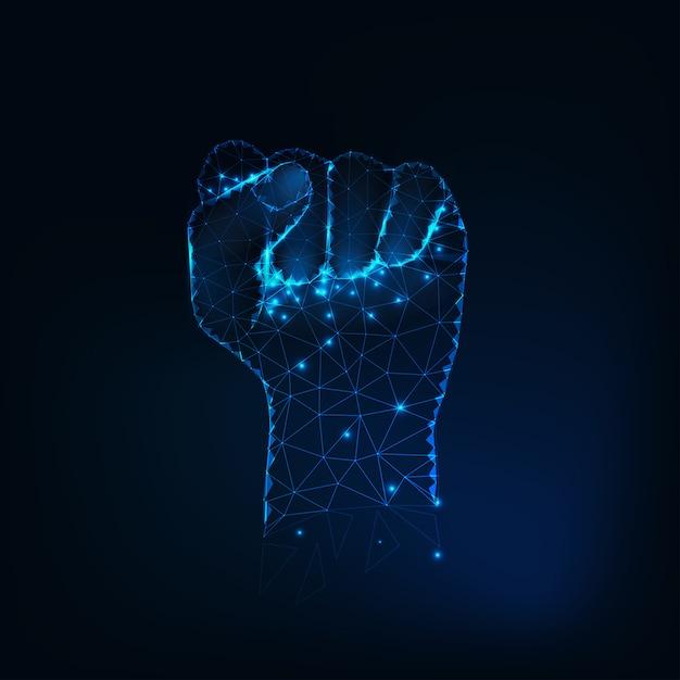 Silueta de puño femenina, levantada a mano hecha de estrellas brillantes. Vector Premium