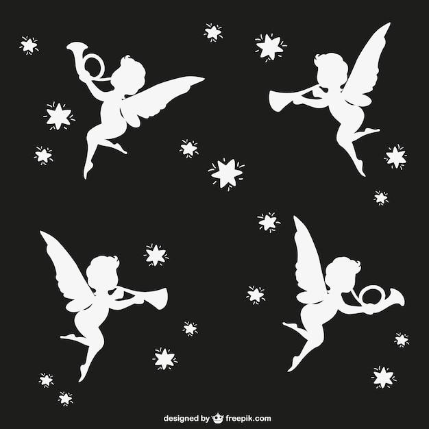 Siluetas de ángeles vector gratuito