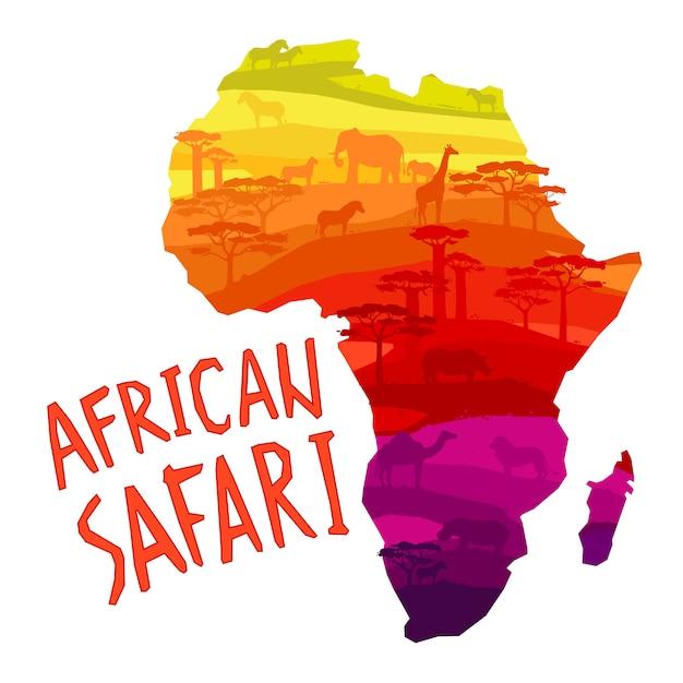 Siluetas de animales africanos en puesta de sol vector gratuito