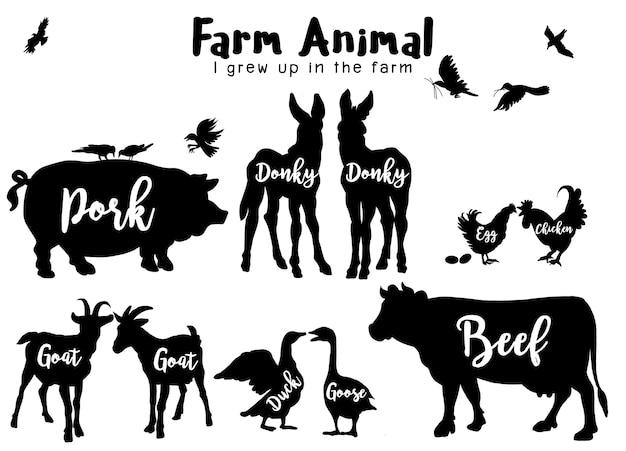 Siluetas de animales de granja aislados Vector Premium